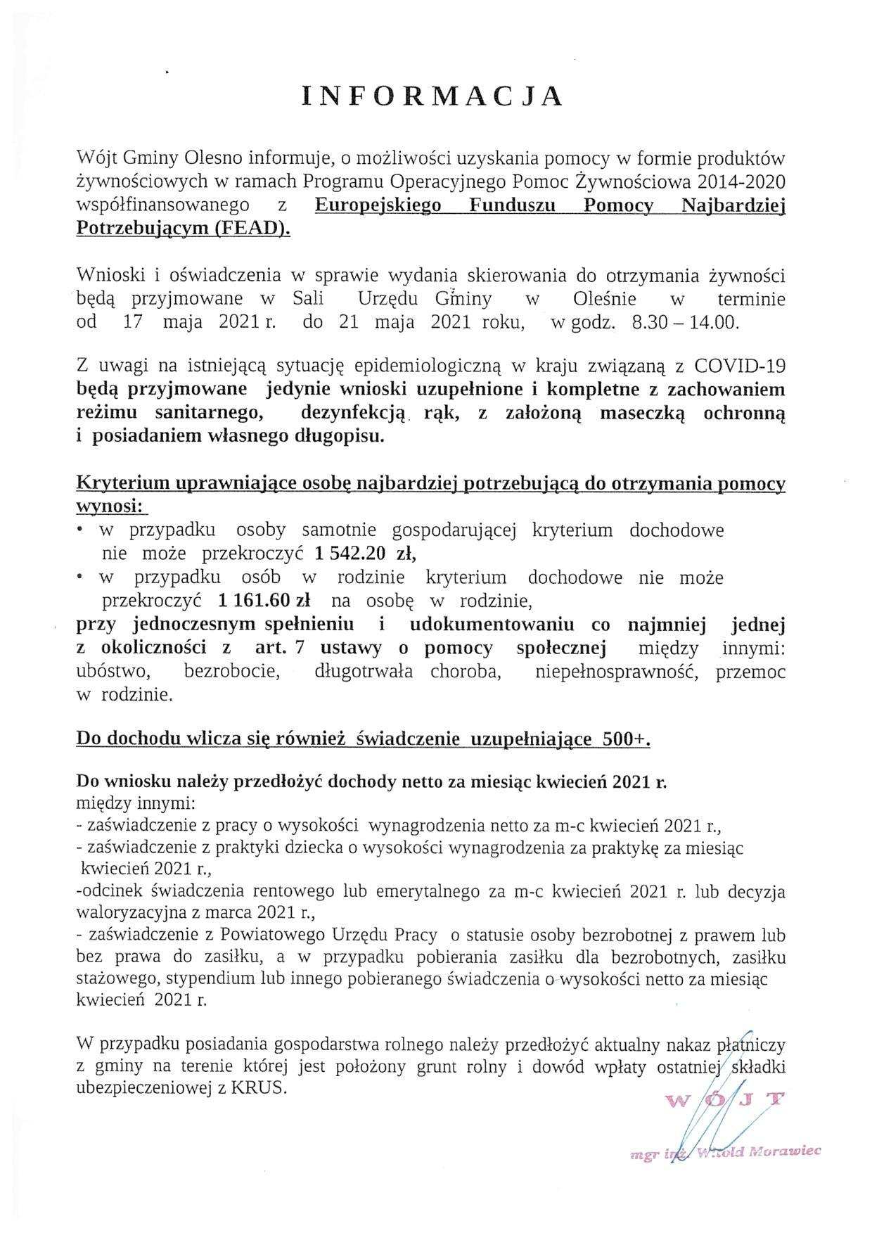 Informacja Wójta Gminy Olesno o możliwości uzyskania pomocy w formie produktów żywnościowych
